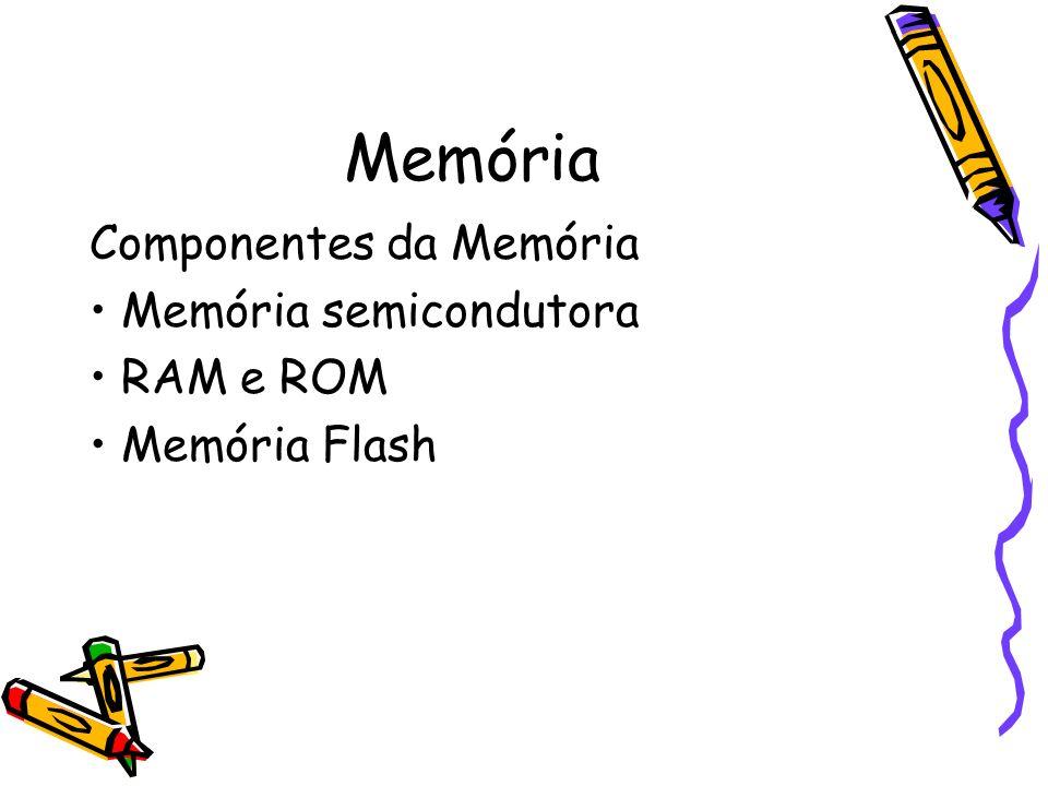 Memória Componentes da Memória Memória semicondutora RAM e ROM Memória Flash