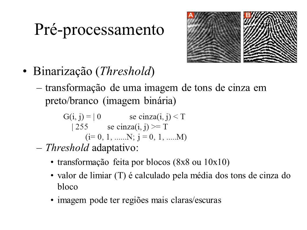 Pré-processamento Binarização (Threshold) –transformação de uma imagem de tons de cinza em preto/branco (imagem binária) –Threshold adaptativo: transformação feita por blocos (8x8 ou 10x10) valor de limiar (T) é calculado pela média dos tons de cinza do bloco imagem pode ter regiões mais claras/escuras G(i, j) = | 0 se cinza(i, j) < T | 255 se cinza(i, j) >= T (i= 0, 1,......N; j = 0, 1,.....M) Imagem após binarização