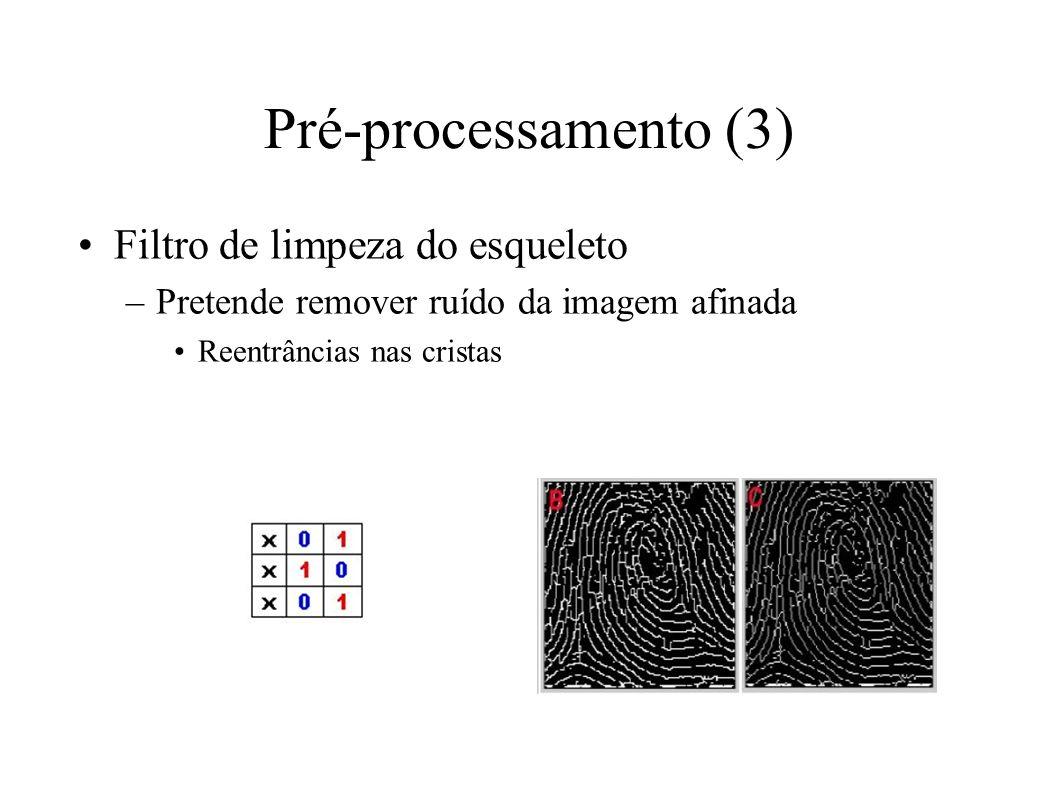 Pré-processamento (3) Filtro de limpeza do esqueleto –Pretende remover ruído da imagem afinada Reentrâncias nas cristas