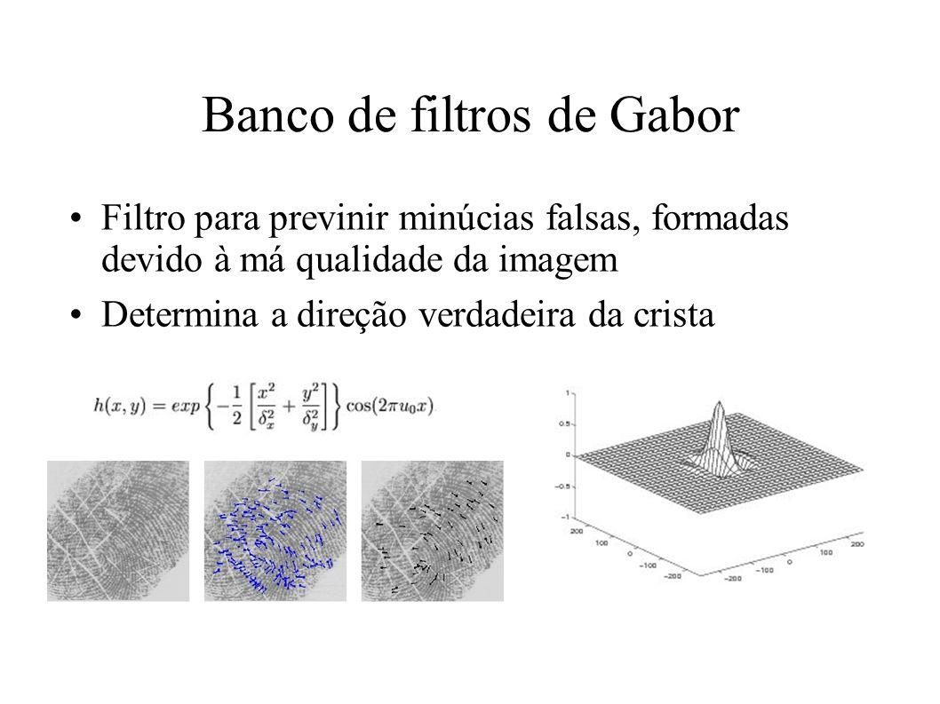 Banco de filtros de Gabor Filtro para previnir minúcias falsas, formadas devido à má qualidade da imagem Determina a direção verdadeira da crista