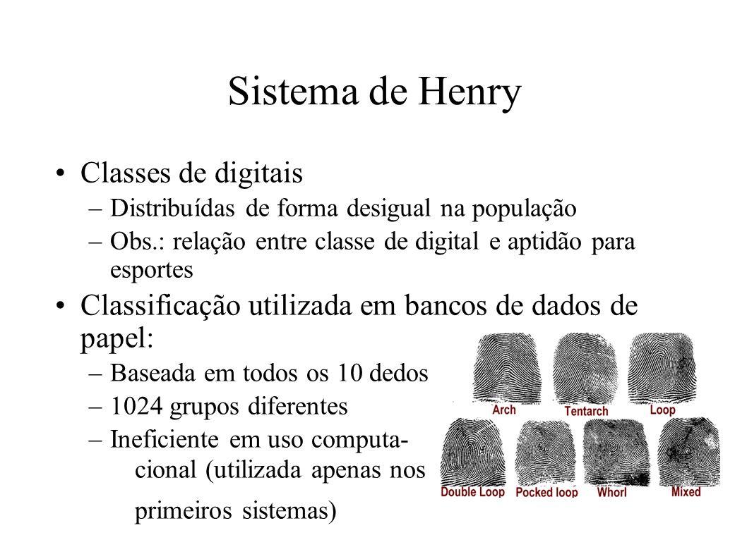 Sistema de Henry Classes de digitais –Distribuídas de forma desigual na população –Obs.: relação entre classe de digital e aptidão para esportes Classificação utilizada em bancos de dados de papel: –Baseada em todos os 10 dedos –1024 grupos diferentes –Ineficiente em uso computa- cional (utilizada apenas nos primeiros sistemas)
