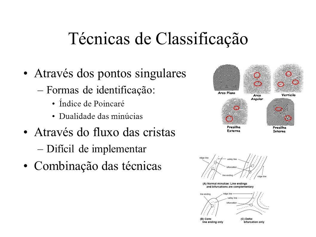 Técnicas de Classificação Através dos pontos singulares –Formas de identificação: Índice de Poincaré Dualidade das minúcias Através do fluxo das cristas –Difícil de implementar Combinação das técnica s