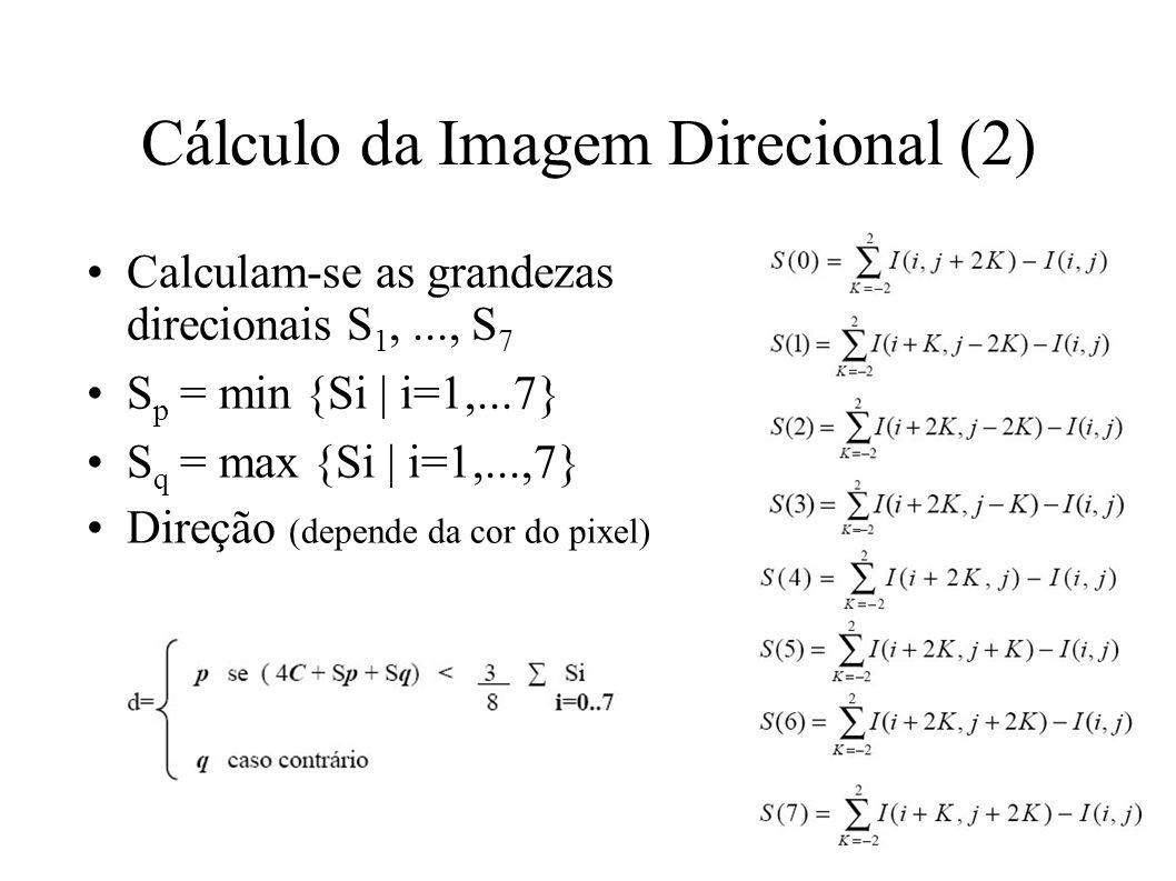 Cálculo da Imagem Direcional (2) Calculam-se as grandezas direcionais S 1,..., S 7 S p = min {Si | i=1,...7} S q = max {Si | i=1,...,7} Direção (depende da cor do pixel)