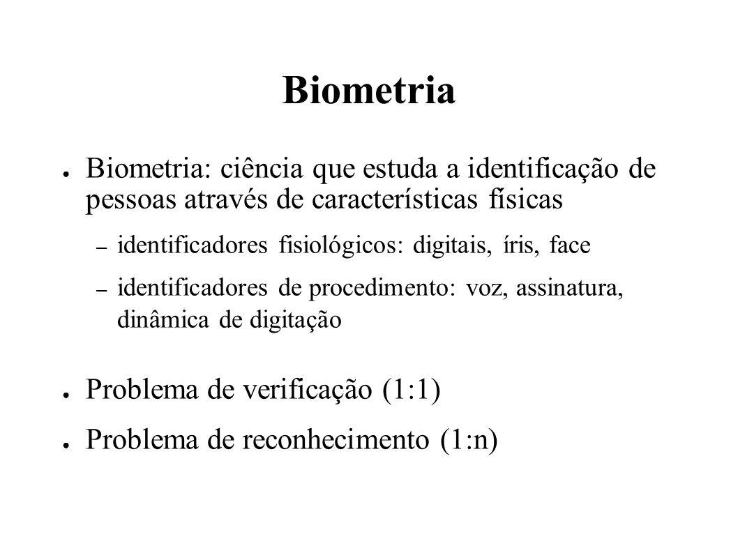 Biometria Biometria: ciência que estuda a identificação de pessoas através de características físicas – identificadores fisiológicos: digitais, íris, face – identificadores de procedimento: voz, assinatura, dinâmica de digitação Problema de verificação (1:1) Problema de reconhecimento (1:n)