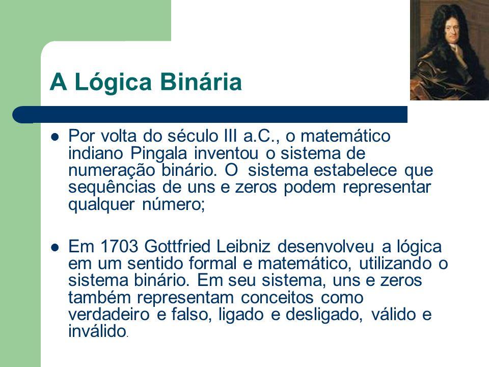 A Lógica Binária Por volta do século III a.C., o matemático indiano Pingala inventou o sistema de numeração binário. O sistema estabelece que sequênci