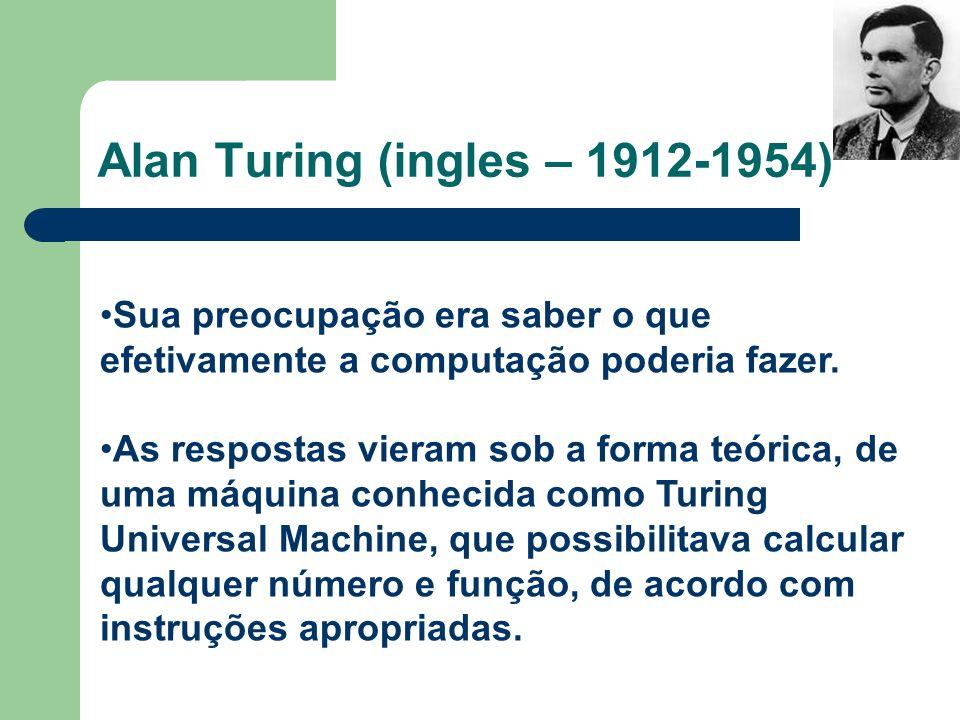 Alan Turing (ingles – 1912-1954) Sua preocupação era saber o que efetivamente a computação poderia fazer. As respostas vieram sob a forma teórica, de