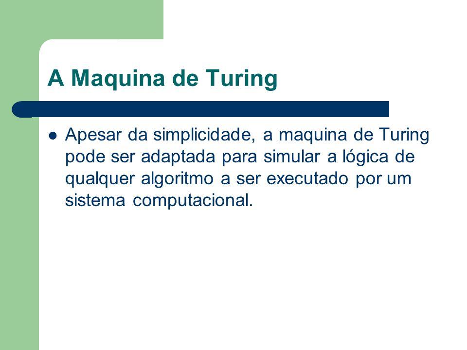 A Maquina de Turing Apesar da simplicidade, a maquina de Turing pode ser adaptada para simular a lógica de qualquer algoritmo a ser executado por um s