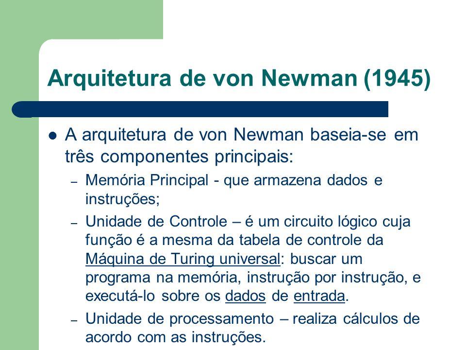Arquitetura de von Newman (1945) A arquitetura de von Newman baseia-se em três componentes principais: – Memória Principal - que armazena dados e inst