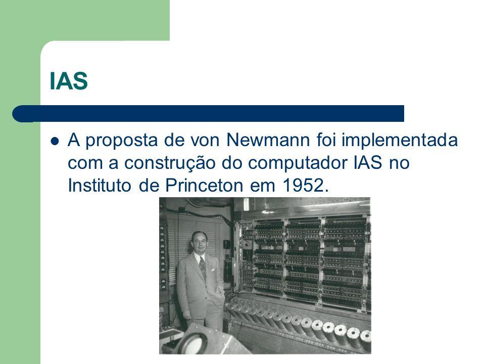 IAS A proposta de von Newmann foi implementada com a construção do computador IAS no Instituto de Princeton em 1952.