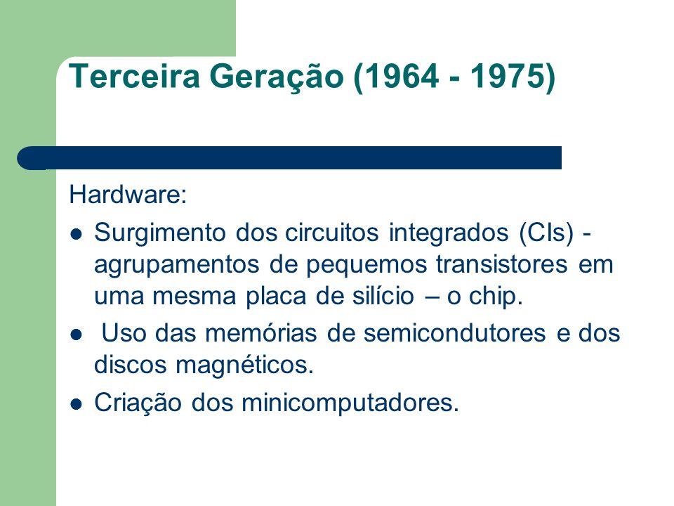 Terceira Geração (1964 - 1975) Hardware: Surgimento dos circuitos integrados (CIs) - agrupamentos de pequemos transistores em uma mesma placa de silíc