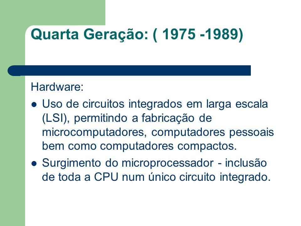 Hardware: Uso de circuitos integrados em larga escala (LSI), permitindo a fabricação de microcomputadores, computadores pessoais bem como computadores