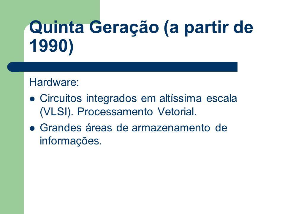 Quinta Geração (a partir de 1990) Hardware: Circuitos integrados em altíssima escala (VLSI). Processamento Vetorial. Grandes áreas de armazenamento de