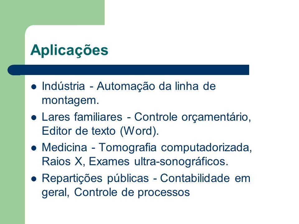 Aplicações Indústria - Automação da linha de montagem. Lares familiares - Controle orçamentário, Editor de texto (Word). Medicina - Tomografia computa