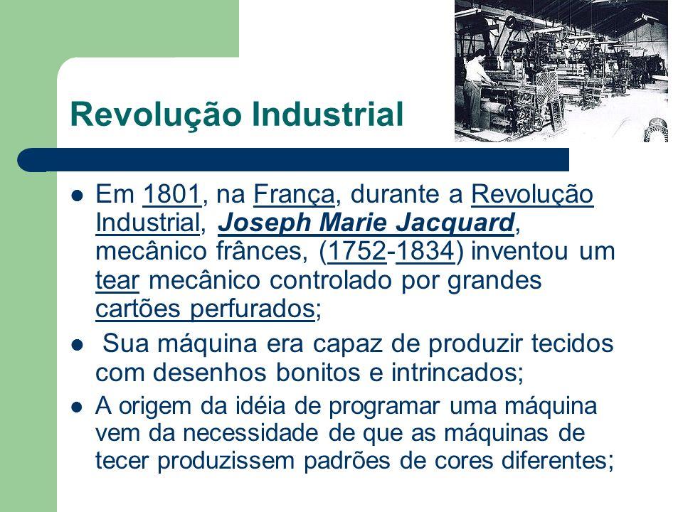Revolução Industrial Em 1801, na França, durante a Revolução Industrial, Joseph Marie Jacquard, mecânico frânces, (1752-1834) inventou um tear mecânic
