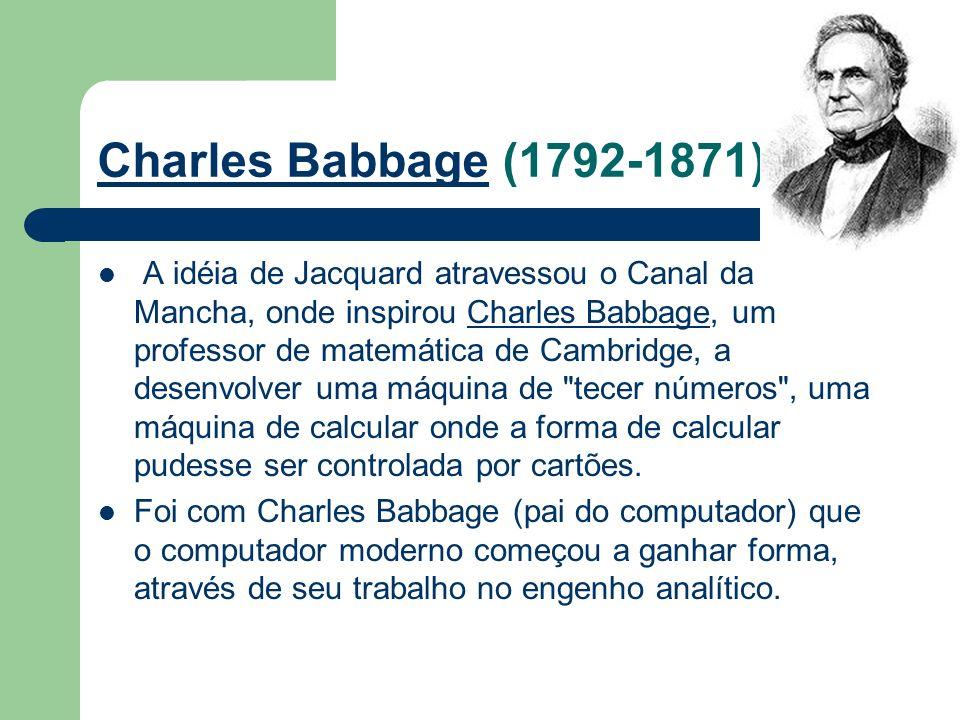 Charles Babbage O projeto, totalmente mecânico, era composto de uma memória, um engenho central, engrenagens e alavancas usadas para a transferência de dados da memória para o engenho central e dispositivos para entrada e saída de dados.