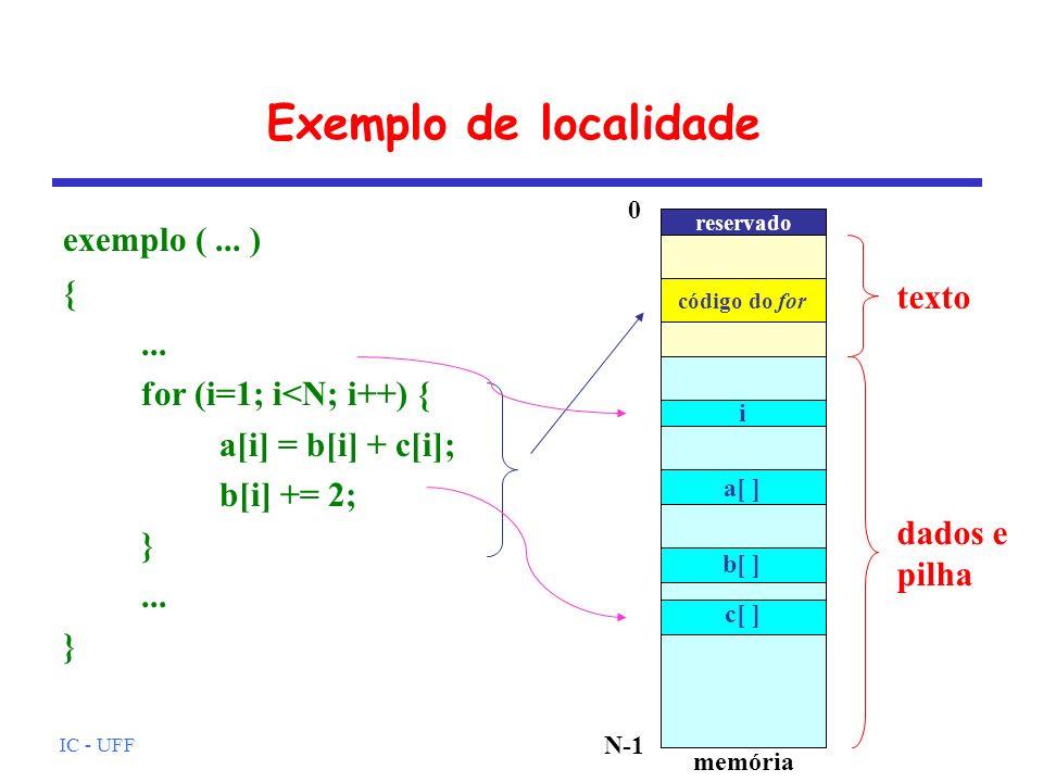 IC - UFF Exemplo de localidade exemplo (... ) {... for (i=1; i<N; i++) { a[i] = b[i] + c[i]; b[i] += 2; }... } dados e pilha texto memória N-1 reserva