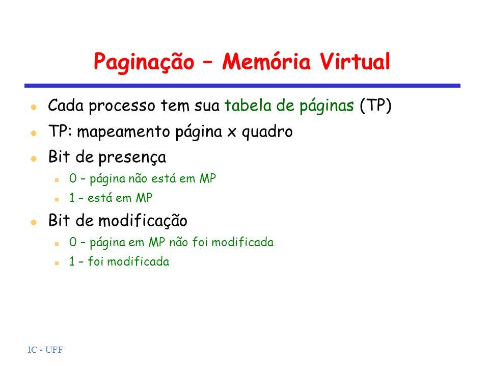 IC - UFF Paginação – Memória Virtual Cada processo tem sua tabela de páginas (TP) TP: mapeamento página x quadro Bit de presença 0 – página não está e