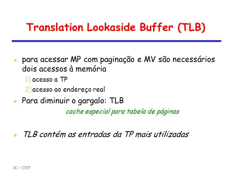 IC - UFF Translation Lookaside Buffer (TLB) para acessar MP com paginação e MV são necessários dois acessos à memória 1)acesso a TP 2)acesso ao endere