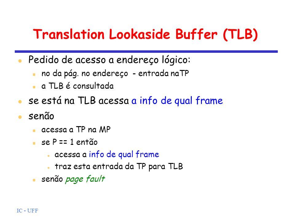 IC - UFF Translation Lookaside Buffer (TLB) Pedido de acesso a endereço lógico: no da pág. no endereço - entrada naTP a TLB é consultada se está na TL