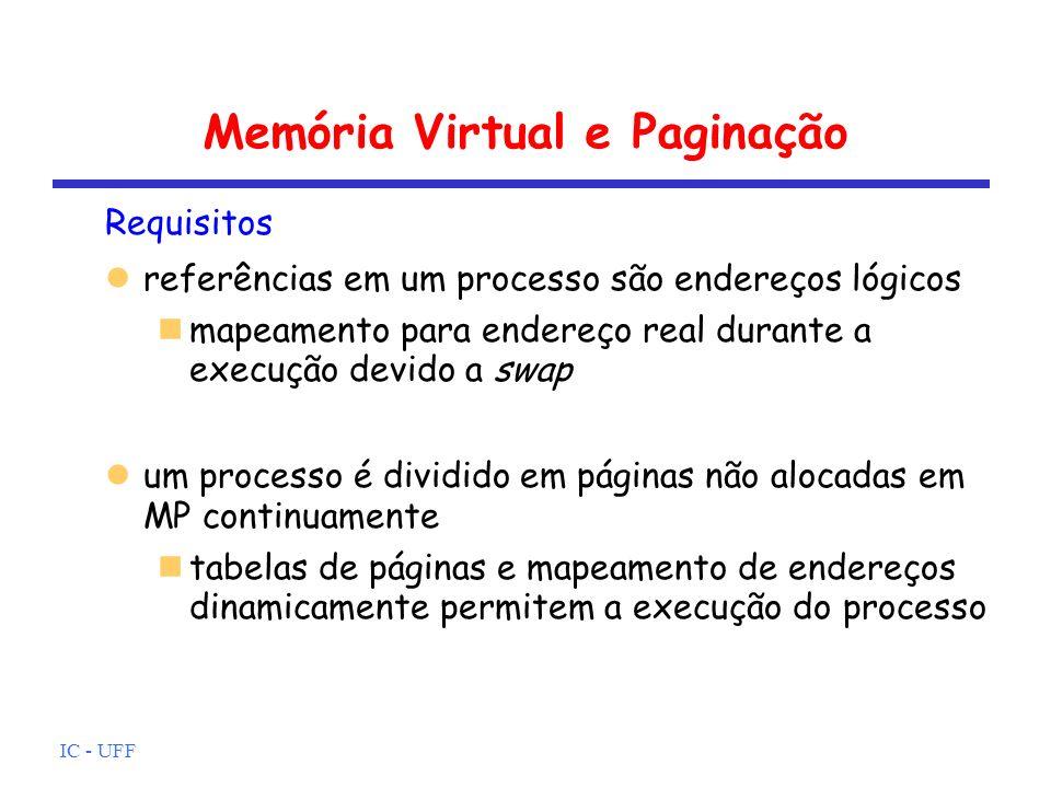 IC - UFF Memória Virtual e Paginação Requisitos referências em um processo são endereços lógicos mapeamento para endereço real durante a execução devi