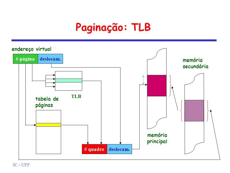 IC - UFF Paginação: TLB # páginadeslocam. endereço virtual memória principa l memória secundária # quadrodeslocam. tabela de páginas TLB