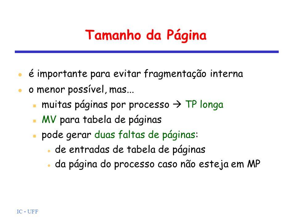 IC - UFF Tamanho da Página é importante para evitar fragmentação interna o menor possível, mas... muitas páginas por processo TP longa MV para tabela