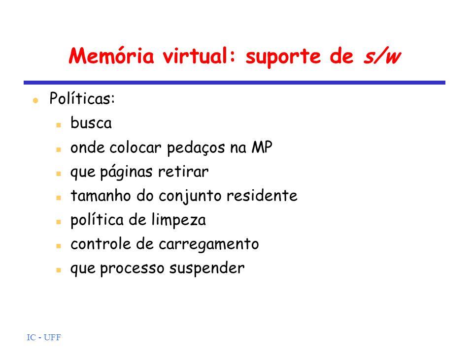 IC - UFF Memória virtual: suporte de s/w Políticas: busca onde colocar pedaços na MP que páginas retirar tamanho do conjunto residente política de lim