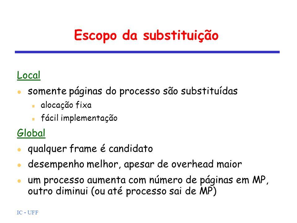 IC - UFF Escopo da substituição Local somente páginas do processo são substituídas alocação fixa fácil implementação Global qualquer frame é candidato