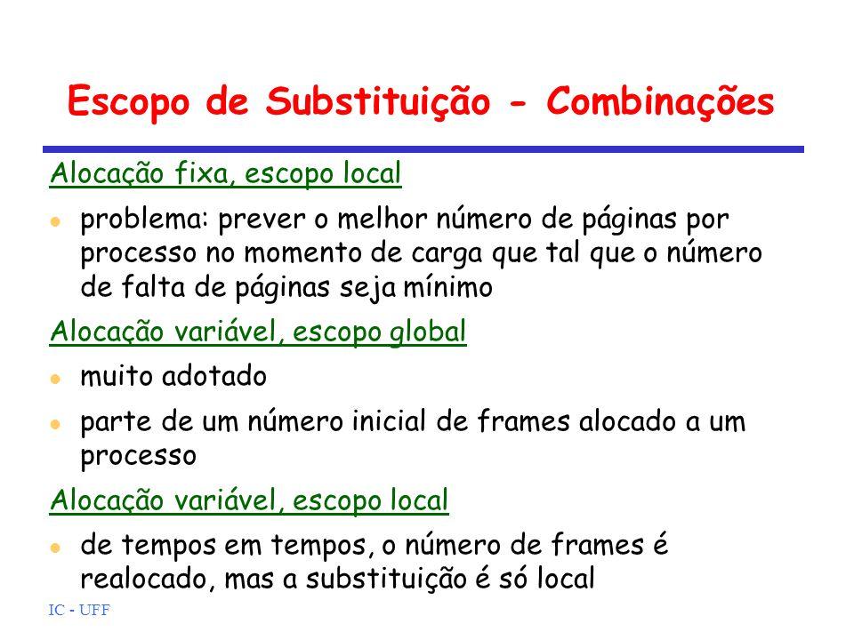 IC - UFF Escopo de Substituição - Combinações Alocação fixa, escopo local problema: prever o melhor número de páginas por processo no momento de carga