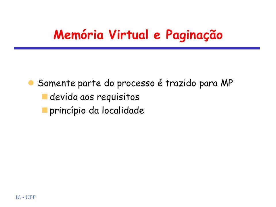 IC - UFF Memória Virtual e Paginação Somente parte do processo é trazido para MP devido aos requisitos princípio da localidade