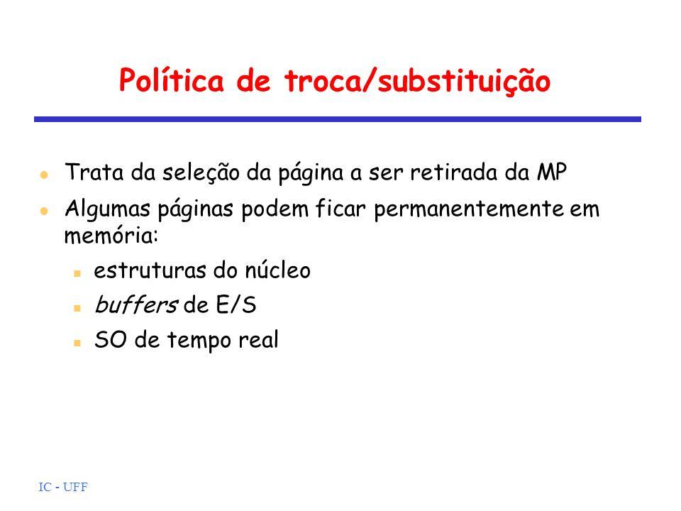IC - UFF Política de troca/substituição Trata da seleção da página a ser retirada da MP Algumas páginas podem ficar permanentemente em memória: estrut