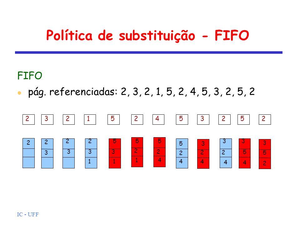 IC - UFF Política de substituição - FIFO FIFO pág. referenciadas: 2, 3, 2, 1, 5, 2, 4, 5, 3, 2, 5, 2 2 2 3 2 3 1 2 3 5 3 1 2 5 1 2 5 4 2 5 4 3 2 4 3 5