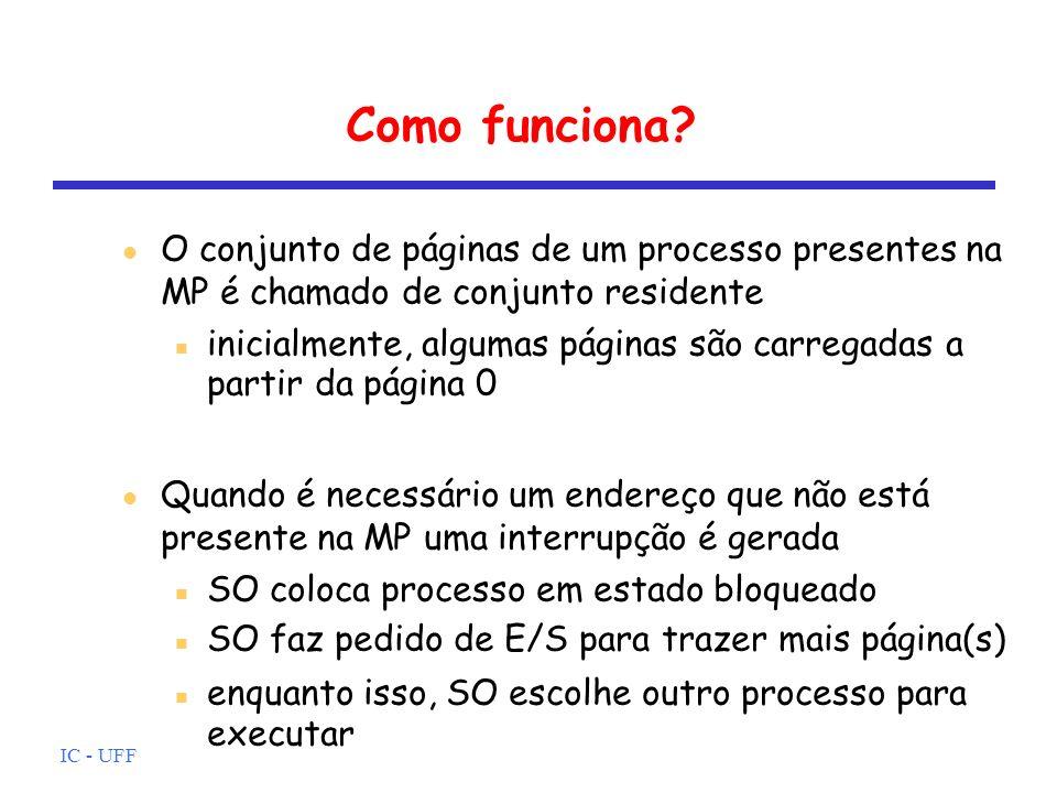 IC - UFF Como funciona? O conjunto de páginas de um processo presentes na MP é chamado de conjunto residente inicialmente, algumas páginas são carrega