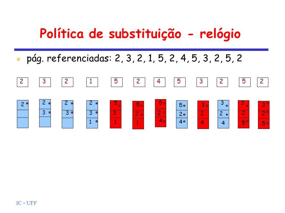 IC - UFF Política de substituição - relógio pág. referenciadas: 2, 3, 2, 1, 5, 2, 4, 5, 3, 2, 5, 2 232152453252 2 2 3 2 3 1 2 3 5 3 1 2 5 1 2 5 4 2 5