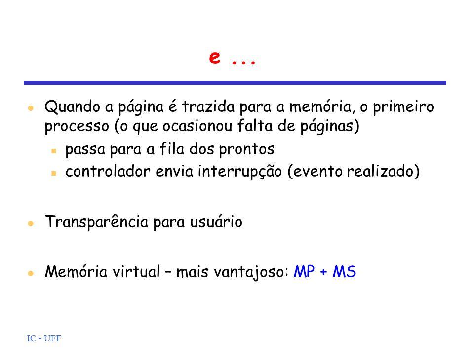 IC - UFF e... Quando a página é trazida para a memória, o primeiro processo (o que ocasionou falta de páginas) passa para a fila dos prontos controlad