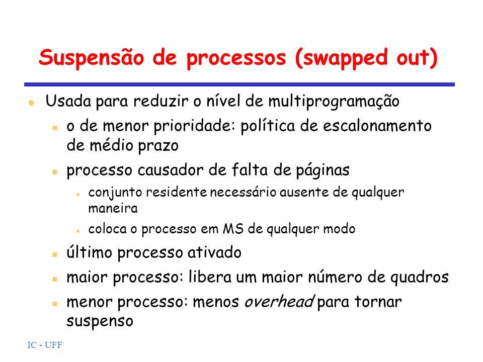IC - UFF Suspensão de processos (swapped out) Usada para reduzir o nível de multiprogramação o de menor prioridade: política de escalonamento de médio