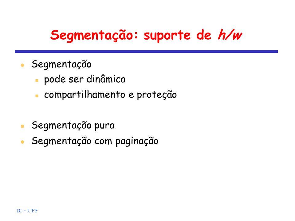 IC - UFF Segmentação: suporte de h/w Segmentação pode ser dinâmica compartilhamento e proteção Segmentação pura Segmentação com paginação