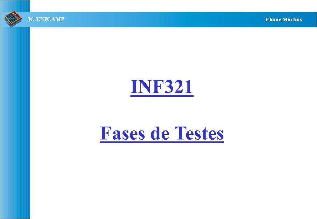 QST112 06/2001 IC-UNICAMP Eliane Martins Ferramentas Testes manuais: –não recomendável pois número de testes e nº de falhas Ferramentas que podem auxiliar: –capture/playback: permitem armazenar e re-aplicar conjuntos de testes –controle de versões: controlar o sistema e seu histórico de testes –comparação entre resultados do delta e da linha básica –embaralhador de casos de teste: permitem revelar falhas de seqüência de entradas –testes embutidos: assertivas permitem revelar falhas de contrato.