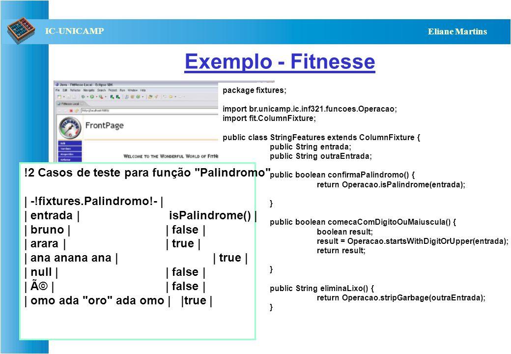 QST112 06/2001 IC-UNICAMP Eliane Martins Exemplo Driver OO CasoTeste001 CasoTeste002 CasoTeste003... CeT Contém instâncias dos casos de teste; Contém