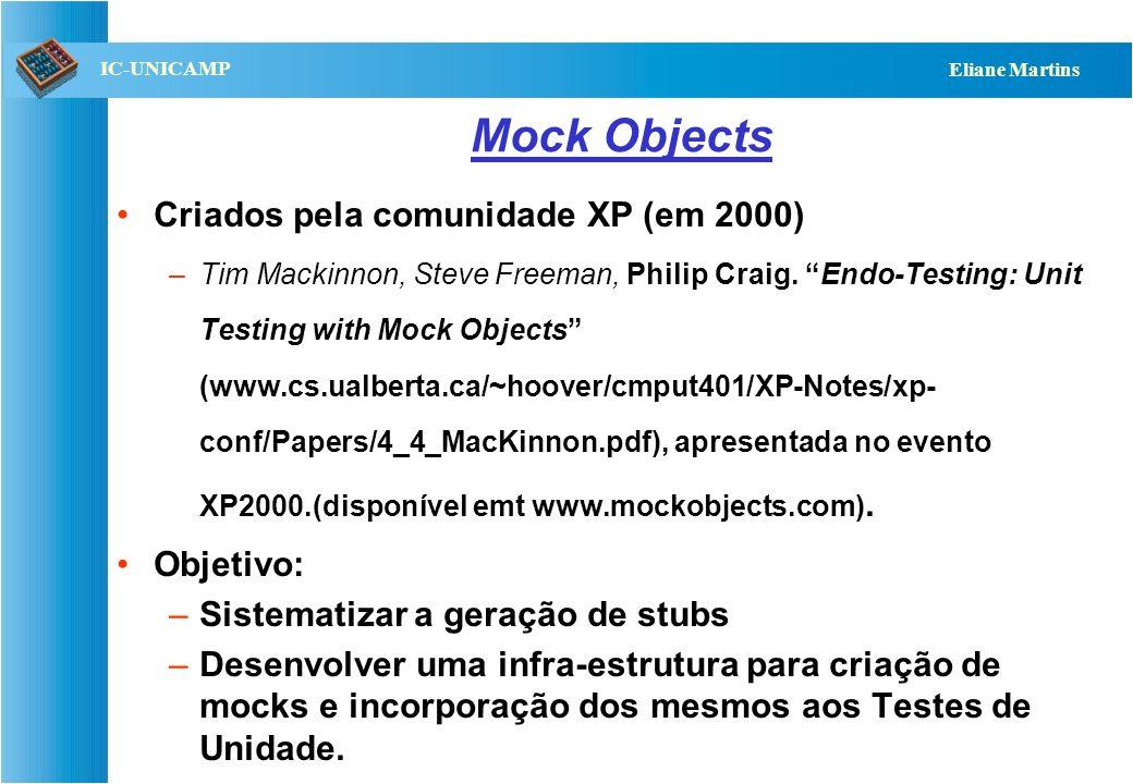 QST112 06/2001 IC-UNICAMP Eliane Martins Estrutura de testes (xUnit) Prepara (set up) Executa Verifica Termina (clean up) CeT Servi- dores Stubs (ou m