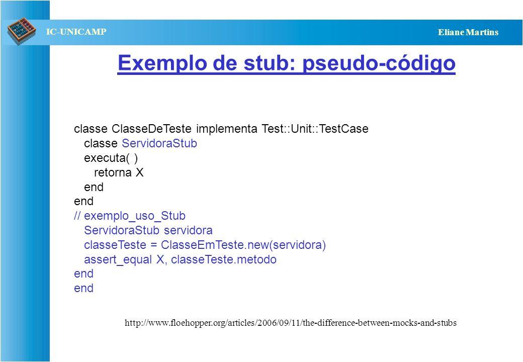 QST112 06/2001 IC-UNICAMP Eliane Martins Exemplo: classe em teste e uma servidora classe ClasseEmTeste Servidora serv; metodo( ) // chama servidora se