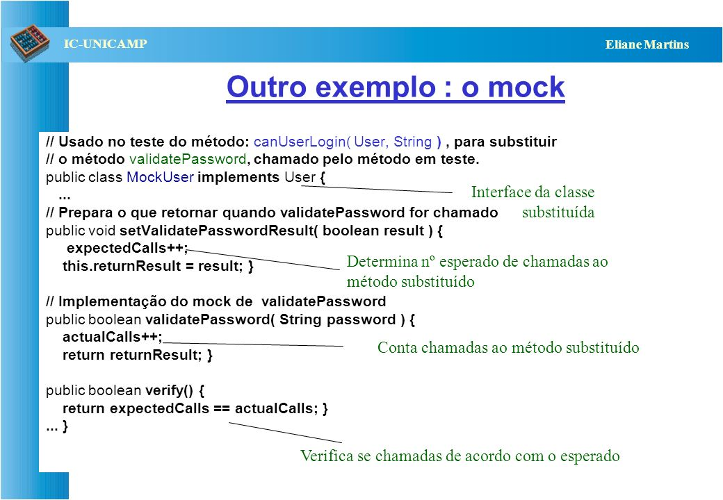 QST112 06/2001 IC-UNICAMP Eliane Martins Exemplo de mock: pseudo-código http://www.floehopper.org/articles/2006/09/11/the-difference-between-mocks-and