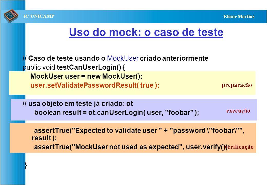 QST112 06/2001 IC-UNICAMP Eliane Martins Outro exemplo : o mock // Usado no teste do método: canUserLogin( User, String ), para substituir // o método