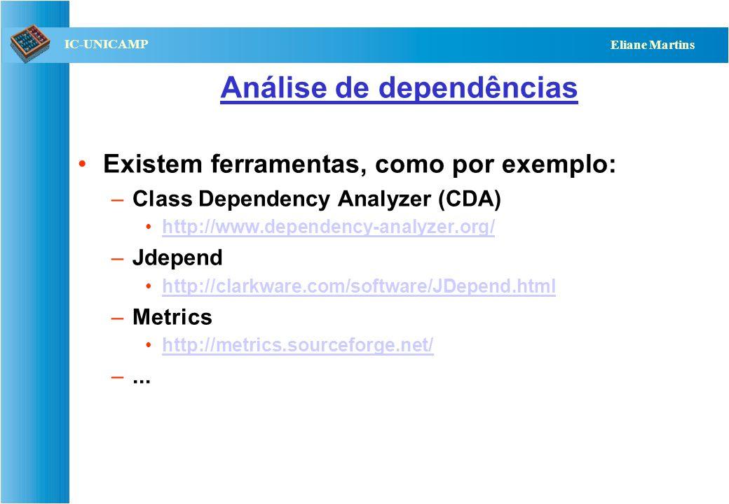 QST112 06/2001 IC-UNICAMP Eliane Martins Exemplo – quebra de ciclos A B C D Testa D Testa B+D Testa C+D Testa A+B+C+D Stub C Integração ascendente: