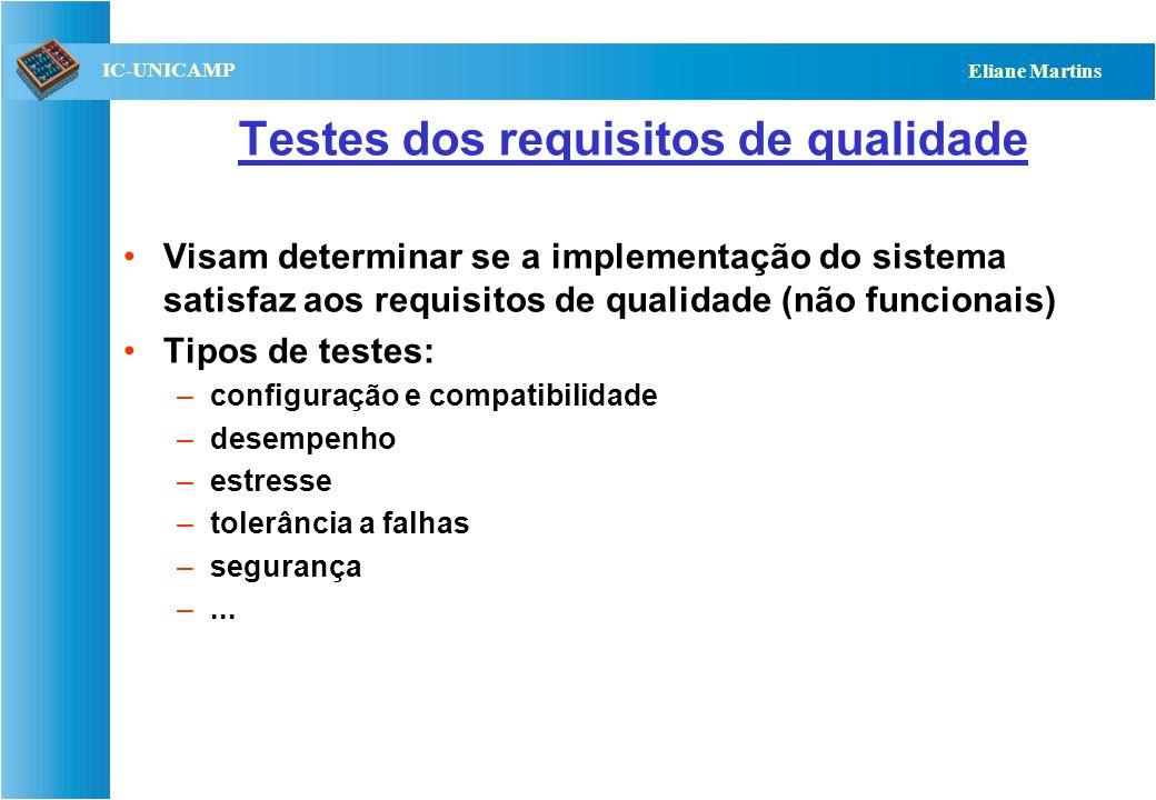 QST112 06/2001 IC-UNICAMP Eliane Martins Testes dos requisitos funcionais Visam verificar se as funcionalidades especificadas foram devidamente implem