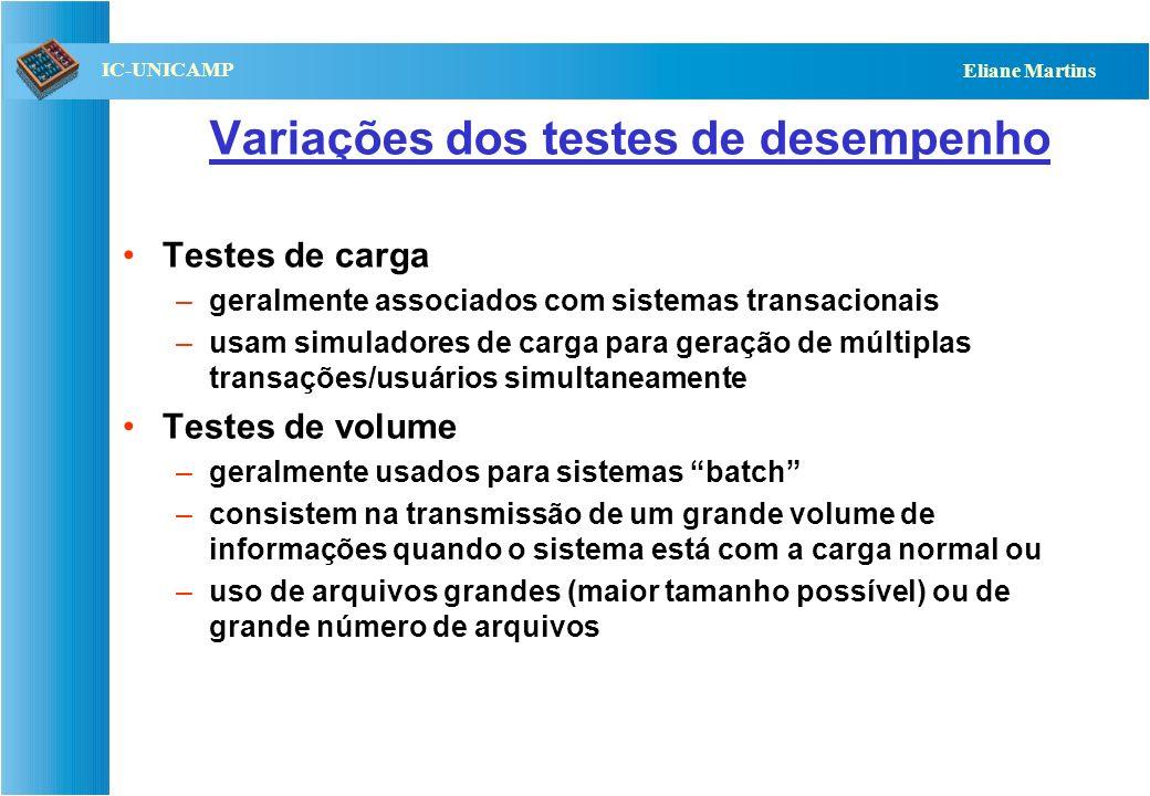 QST112 06/2001 IC-UNICAMP Eliane Martins Testes de desempenho Visam determinar se implementação satisfaz aos requisitos de desempenho especificados: –