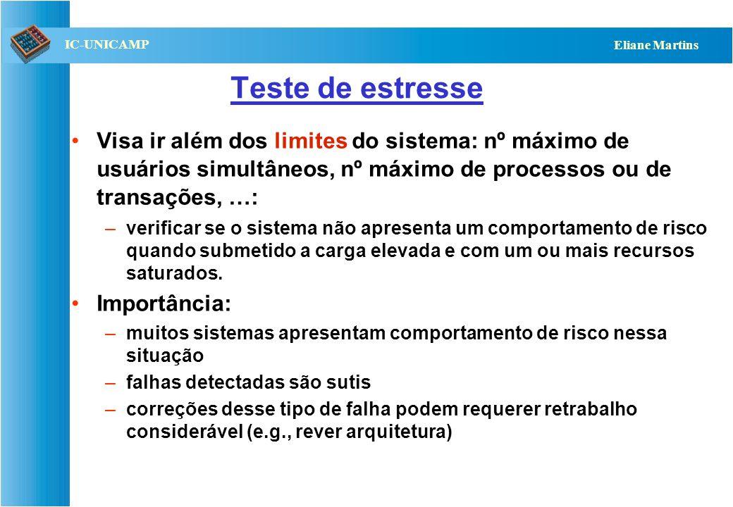 QST112 06/2001 IC-UNICAMP Eliane Martins Variações dos testes de desempenho Testes de carga –geralmente associados com sistemas transacionais –usam si