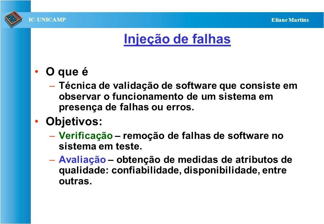QST112 06/2001 IC-UNICAMP Eliane Martins Testes de robustez Objetivo: –Verificar se o comportamento do sistema é adequado em presença de: Entradas inv