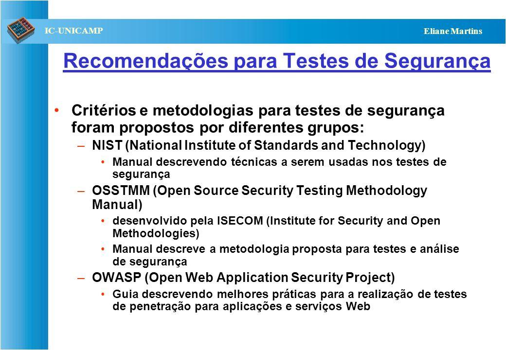 QST112 06/2001 IC-UNICAMP Eliane Martins Testes de segurança Visam verificar a capacidade do sistema de impedir acesso não autorizado, sabotagem ou ou