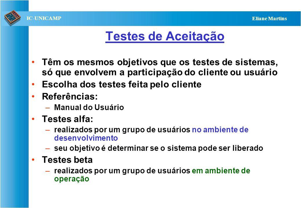 QST112 06/2001 IC-UNICAMP Eliane Martins Testes de Aceitação Testes de Sistemas (funcionais) Especificação de Requisitos Funcionais funcionalidades te